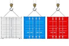 在起重机勾子的色的运输货柜 皇族释放例证