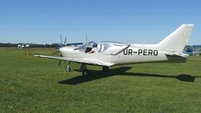 在起飞之前的飞机 准备的飞行员和的副驾驶在机场离开,小飞机 一个老航空器的引擎 股票视频