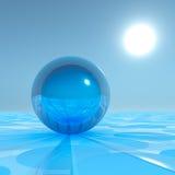 在超现实的天际的蓝色水晶球形 图库摄影