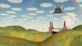 在超现实的风景的飞过的帽子 免版税库存照片