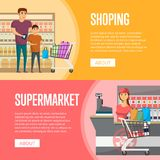 在超级市场横幅的家庭购物 向量例证