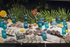 在超级市场泰国模范的选择海鲜,曼谷,泰国 库存照片