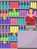 在超级市场的出纳员,售货员,收款机,与家用化工产品的架子在商店 传染媒介例证,平 向量例证