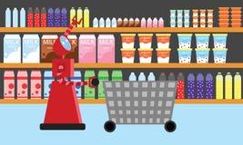 在超级市场的国内机器人购物 免版税库存照片