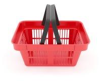 在超级市场空的红色箱子的手提篮 免版税库存图片