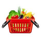 在超级市场篮子被隔绝的传染媒介的菜 免版税库存图片