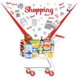 在超级市场销售平的传染媒介概念的购物 向量例证