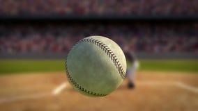 在超级慢动作击中的棒球