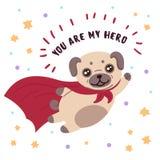 在超级英雄面具和斗篷的哈巴狗 您是我的英雄 库存例证