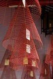 在越南寺庙的螺旋香炉 免版税图库摄影