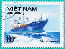 在越南展示打印的邮票在海运送 免版税库存照片