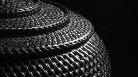 在越南文化的竹茶壶箱子在黑白 免版税库存图片