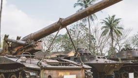 在越战以后的NTrophy美国人被毁坏的技术 越南战争全国军事博物馆  库存照片