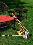 在趣味游戏以后的槌球设备 免版税库存图片