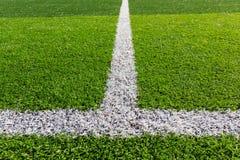在足球场的空白线路 库存照片