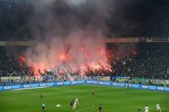 在足球竞技场的烟花在基辅 库存图片