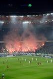 在足球竞技场的烟花在基辅 图库摄影