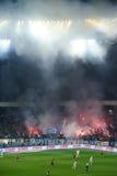 在足球竞技场的烟花在基辅 免版税库存图片