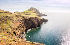 在足迹的美丽的景色对Ponto做圣洛伦索,马德拉岛 图库摄影