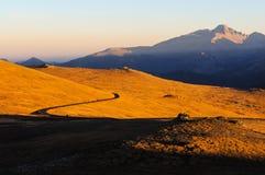 在足迹里奇路的秋天日落 库存照片