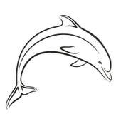 在跃迁的海豚剪影 免版税库存照片