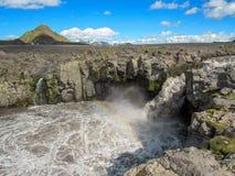 在跑从米达尔斯冰原冰川围拢由风景风景,Laugavegur足迹,冰岛的高地的宽河的看法 图库摄影