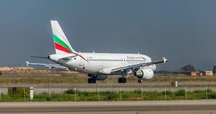 在跑道的保加利亚航空公司 免版税库存图片