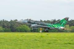 在跑道的多角色战斗机台风战斗机 免版税库存图片