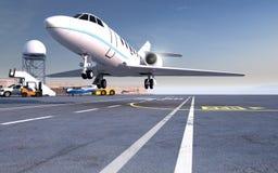 在跑道的飞机着陆 免版税图库摄影