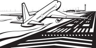 在跑道登陆的飞机在机场 库存例证