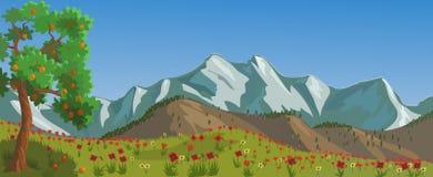在距离多雪的山的红色花 向量例证