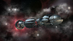 在跨星旅行的太空飞船 免版税库存照片