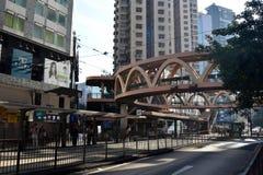 在路上的天桥台阶在香港 免版税库存图片