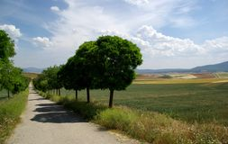 在路上,北西班牙的风景 库存照片