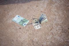 在路丢失的美元 库存照片