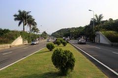 在路中间的绿化区 库存照片