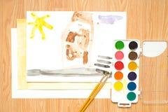 在路的一个红绿灯,一个房子在森林里和领域 儿童与色的铅笔和水彩的` s图画 库存照片