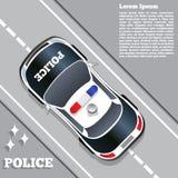 在路的一辆警车 在视图之上 库存图片