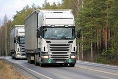 在路的两辆白色斯科讷半R420拖车 免版税图库摄影