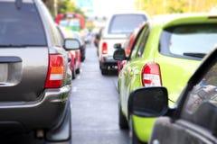 在路的交通堵塞在城市 图库摄影