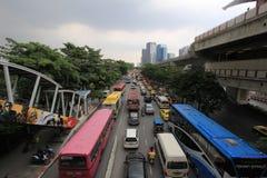 在路的交通堵塞 免版税库存照片