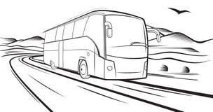 在路的公共汽车乘驾 免版税库存照片