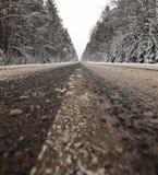 在路的冬天风景 免版税库存照片
