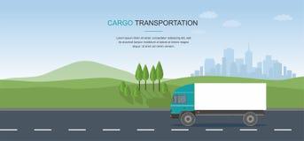 在路的半卡车在城市背景 皇族释放例证