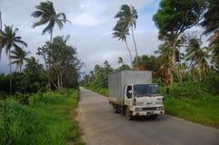 在路的卡车在汤加 免版税库存照片