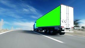 在路的卡车,高速公路 运输,后勤学概念 与physiks行动的超级现实动画 绿色屏幕 库存例证