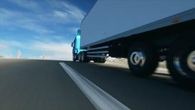 在路的卡车,高速公路 运输,后勤学概念 与physiks行动的超级现实动画 皇族释放例证