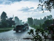 在路的大风暴 库存照片