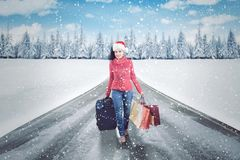在路的妇女运载的购物袋 免版税库存照片