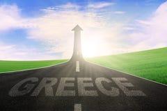 在路的希腊词有向上箭头的 库存照片